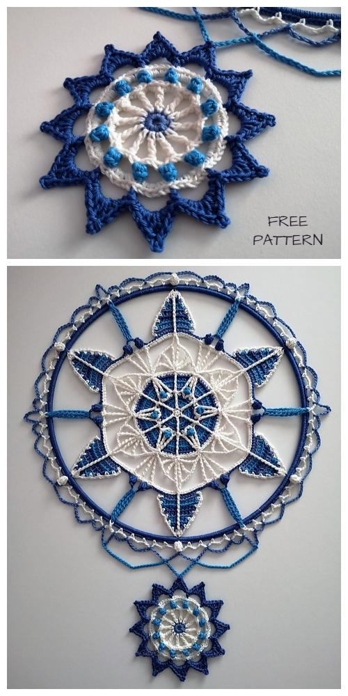 Spring Blue Mandala Free Crochet Patterns - January