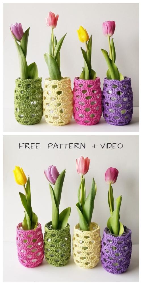 Spring Mason Jar Cozy Free Crochet Patterns + Video