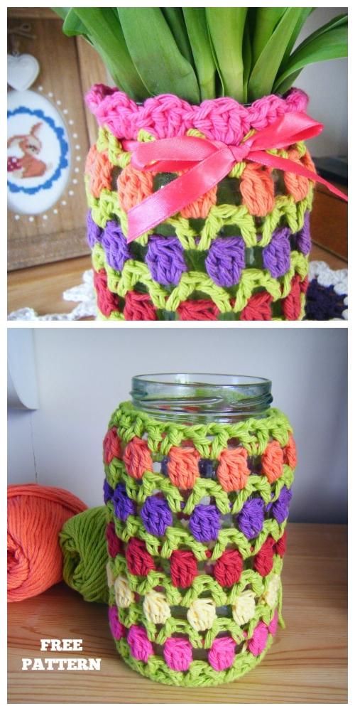 Spring Tulip Mason Jar Cozy Free Crochet Pattern