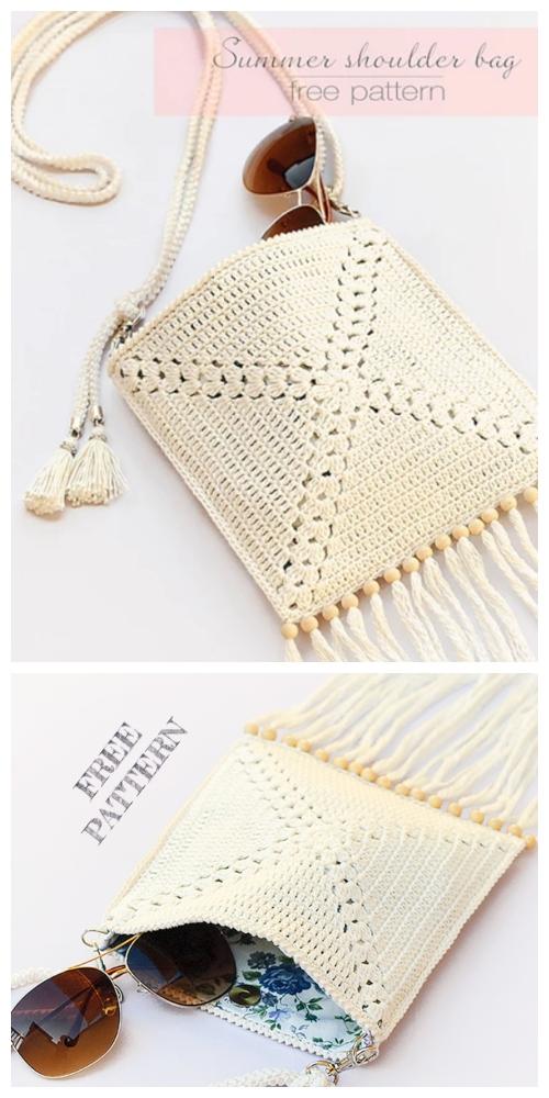 Summer Granny Square Shoulder Bag Free Crochet Pattern
