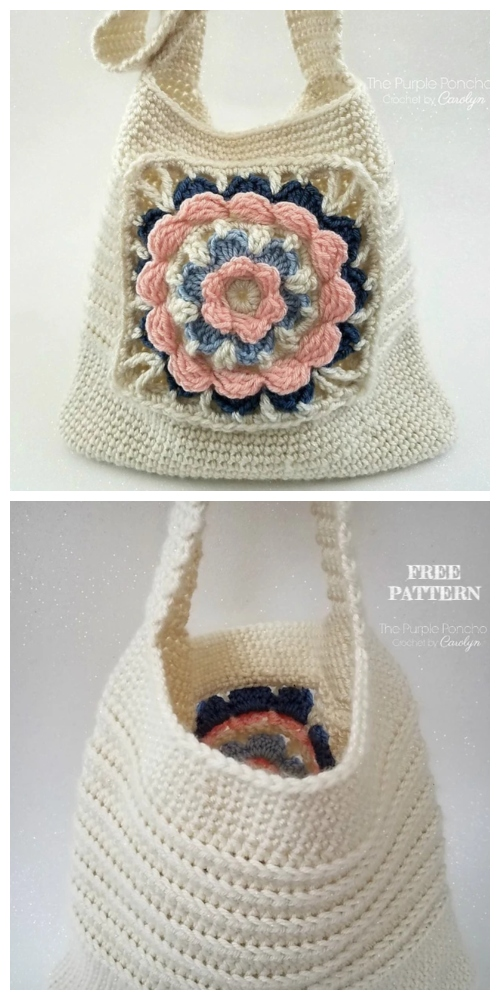My Favorite Tote Flower Granny Bag Free Crochet Pattern