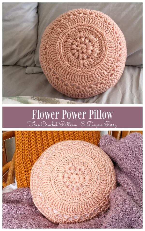 Flower Power Pillow Free Crochet Patterns