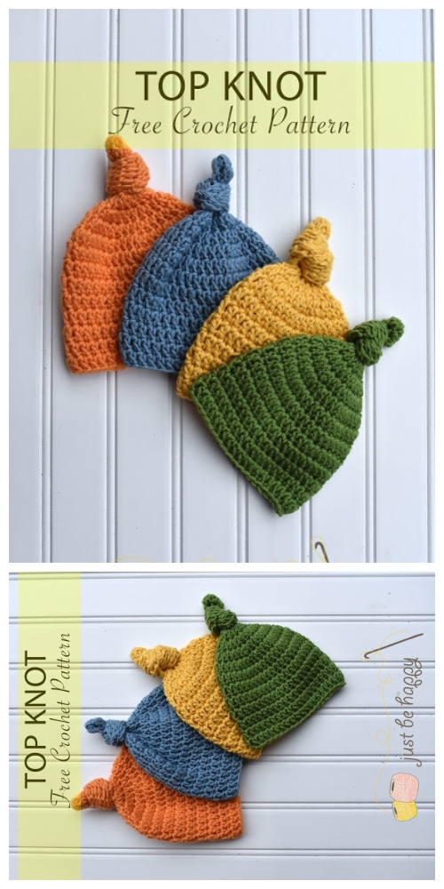 Easy Crochet Baby Top Knot Hat Free Crochet Patterns