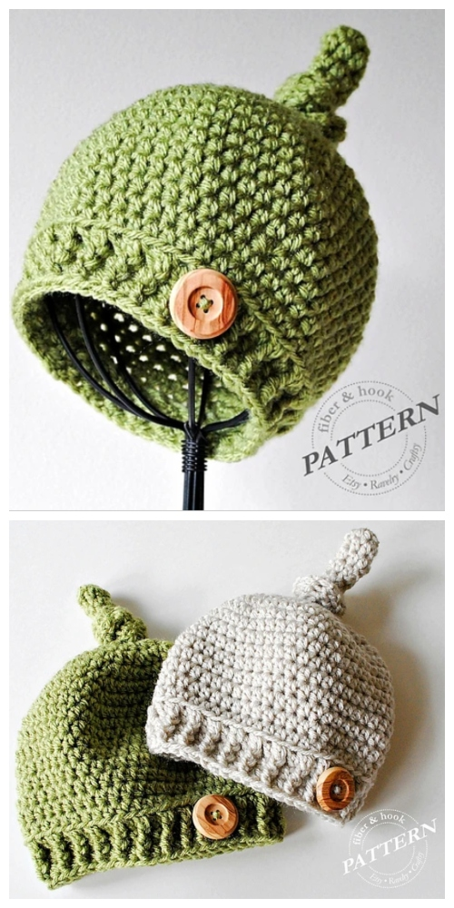 Ribbed Baby Top Knot Hat Crochet Patterns