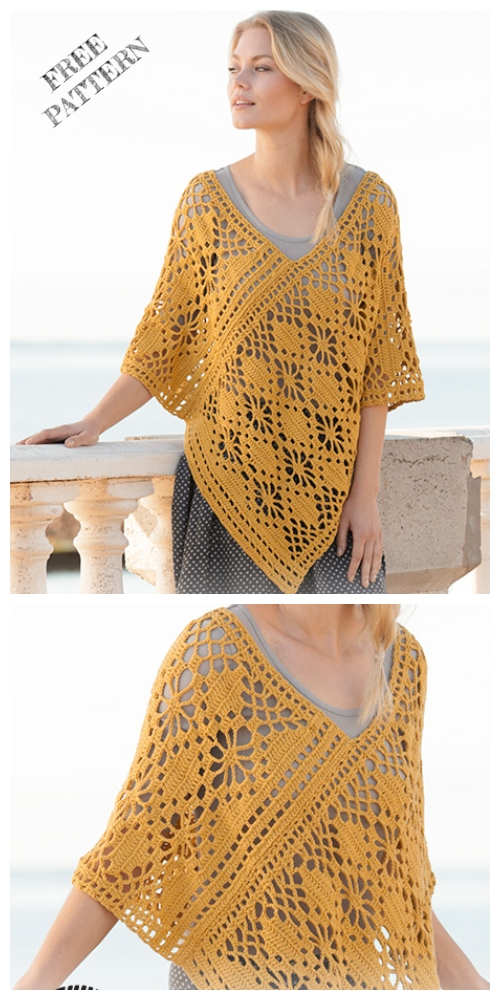 Crochet Butterfly Migration Poncho Free Crochet Patterns
