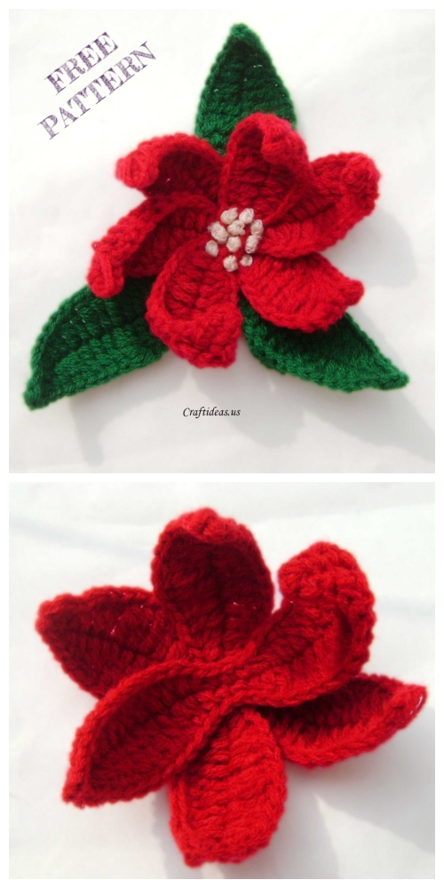 Christmas Crochet Poinsettia Flower Free Patterns + Video