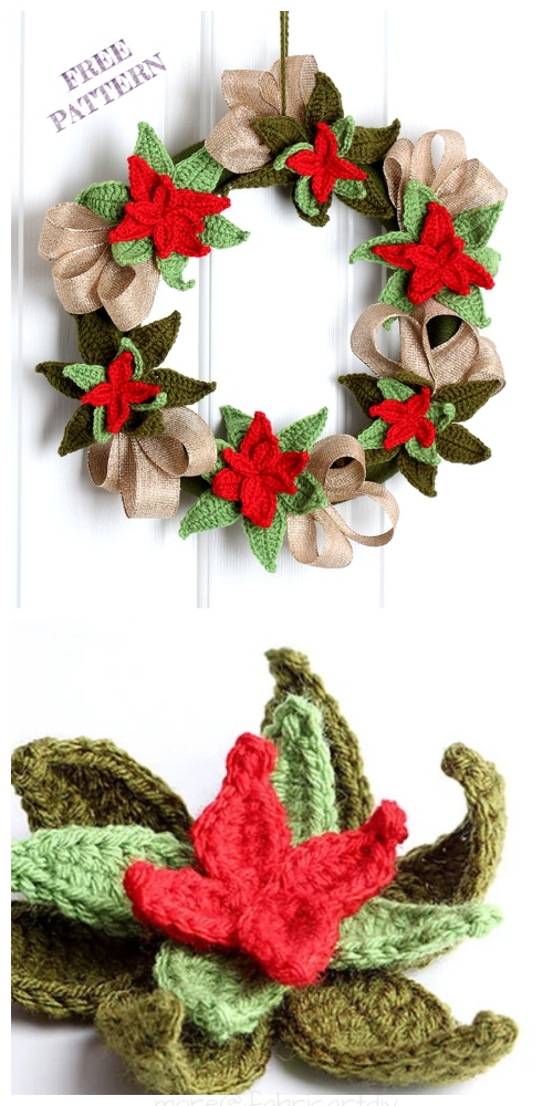 Christmas Crochet Poinsettia Wreath Free Crochet Pattern