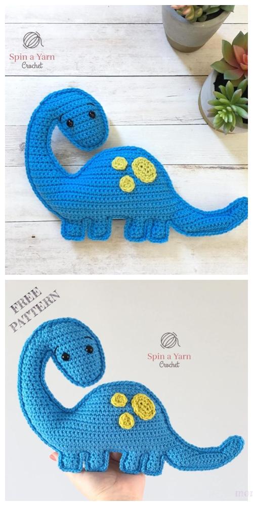 Dinosaur Amigurumi Tutorial | Free Crochet Pattern | Open Mouth ... | 1000x500