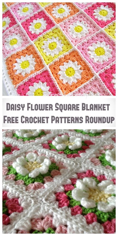 Crochet Daisy Flower Square Blanket Free Crochet Patterns