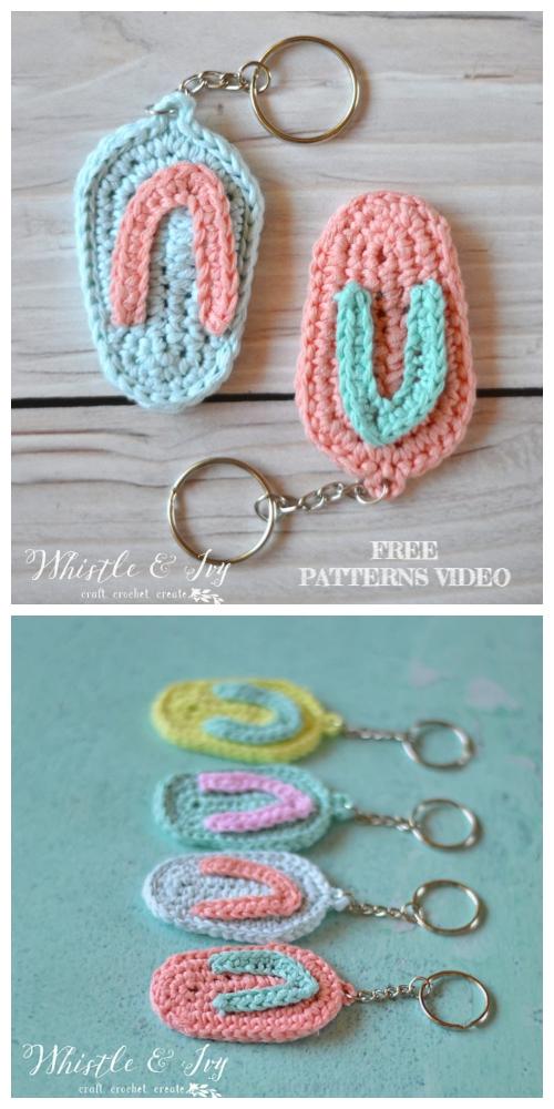 Crochet Flip Flop Keychain Free Patterns + Video