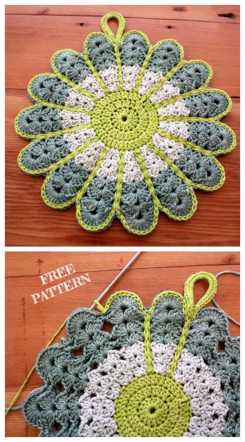 Crochet Flower Potholders Free Crochet Pattern
