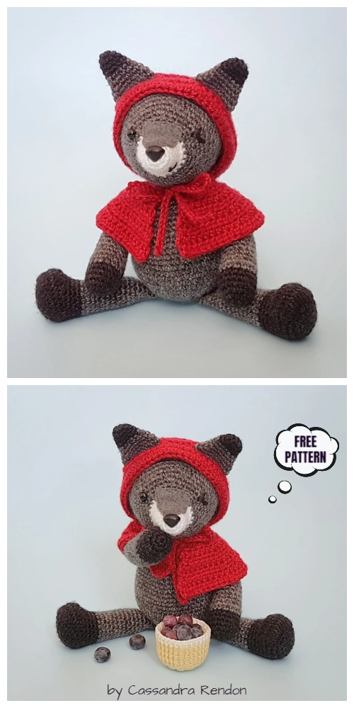 Crochet Hooded Wolf Amigurumi Free Patterns