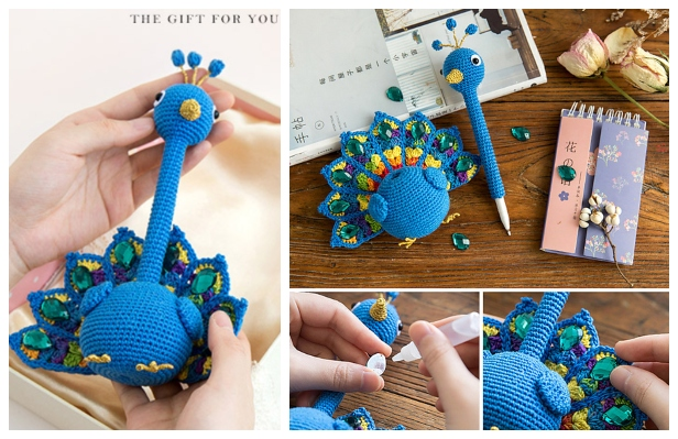 Crochet Peacock Pen Amigurumi Free Pattern + Video