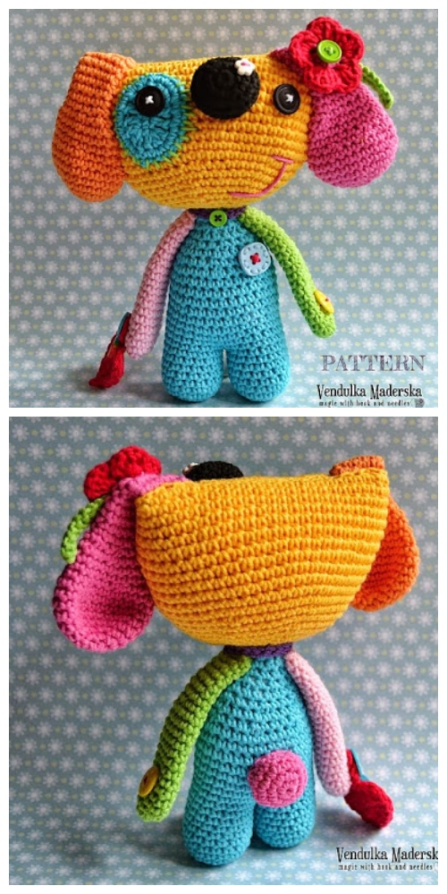 Crochet Rainbow Puppy Dog Amigurumi Patterns