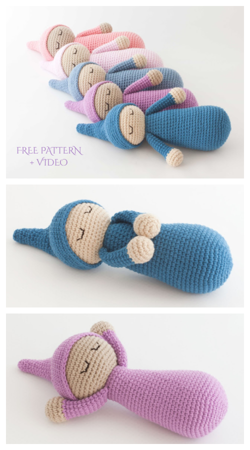 Crochet Sleepyhead Baby Doll Amigurumi Free Pattern + Video
