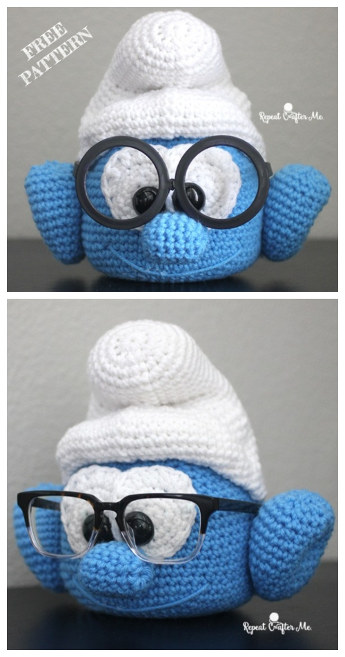Crochet brainy smurf glasses holder Amigurumi Free Pattern