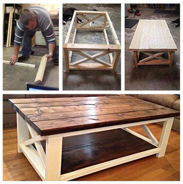 DIY Rustic X Coffee Table Tutorial + FREE Plan