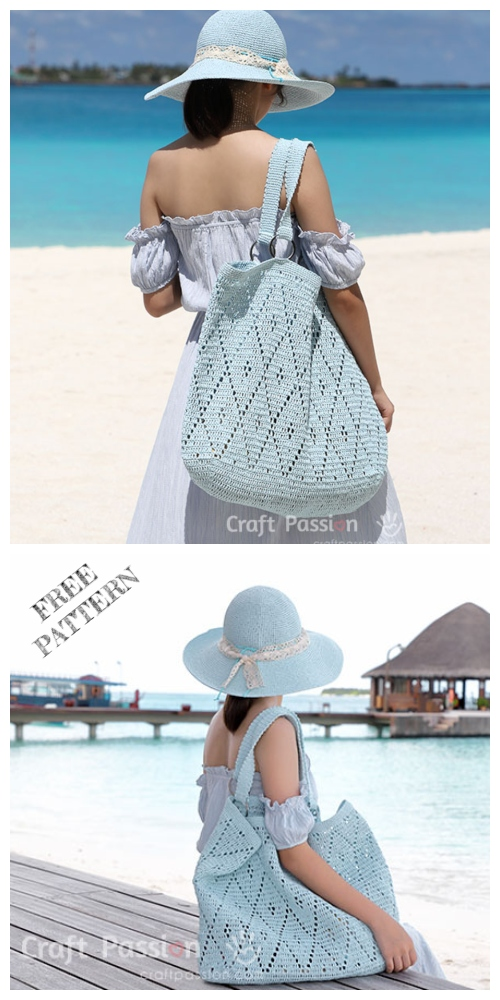 Crochet Diamond Stitch Tote Bag Free Crochet Pattern