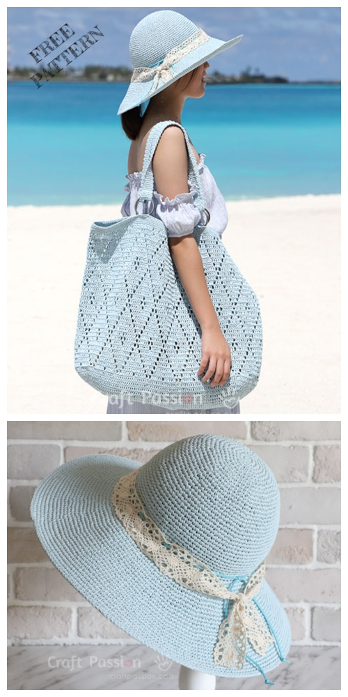 Crochet  Wide Brim Beach Sun Hat Free Crochet Pattern
