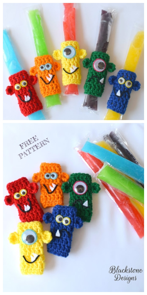 Fun Monster Ice Pop Holder Free Crochet Patterns