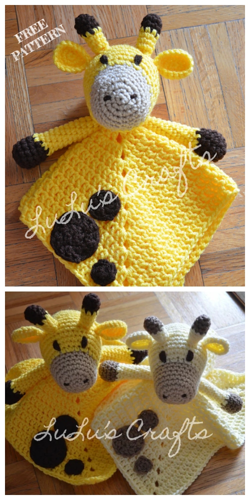 Giraffe Baby Lovey Blanket Free Crochet Patterns
