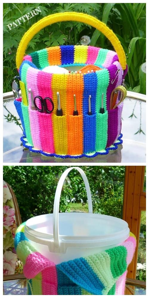 Handicraft Bucket Yarn Hook Organizer Crochet Pattern