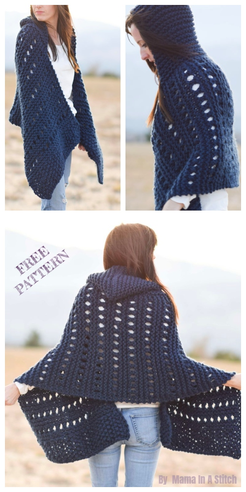 Knit Adak Hooded Wrap Free Knitting Pattern