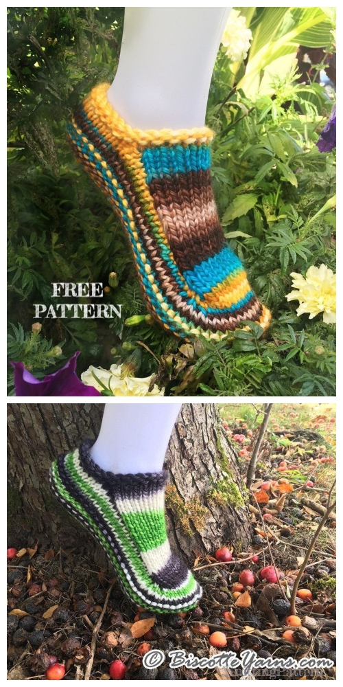 Knit Biscotte's Slippers Free Knitting Patterns Adult Size