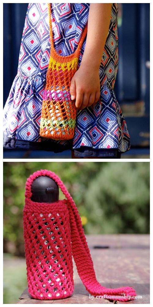 Knit Bishi Net Water Bottle Carrier Free Knitting Pattern