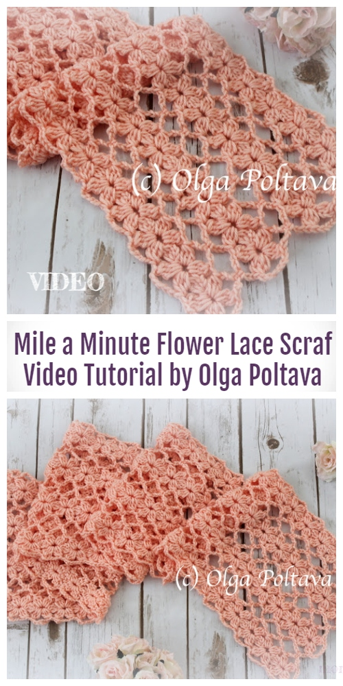 Crochet Lace Flower Scarf Free Crochet Pattern Video