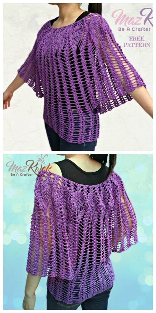 Lacy Love Pineapple Batwing Top Free Crochet Pattern