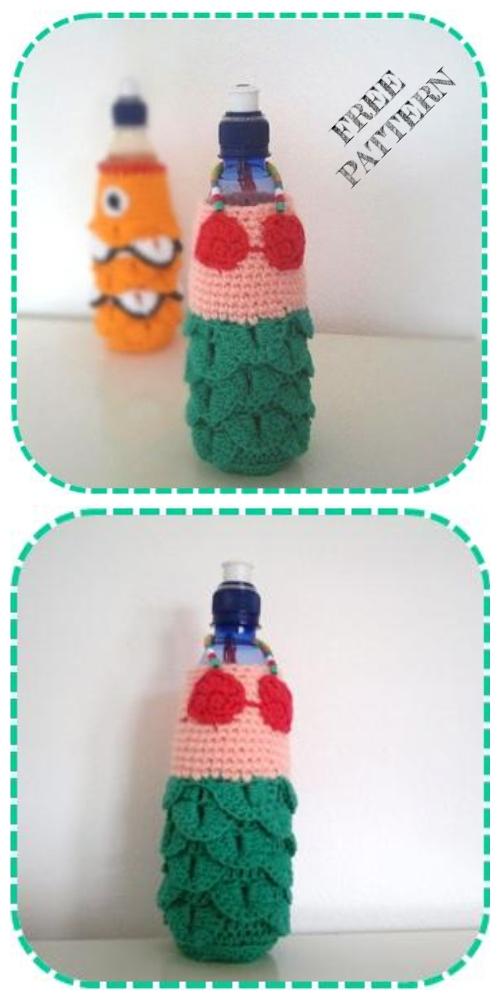 Mermaid Fish Water Bottle Cozy Free Crochet Patterns