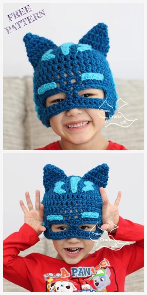 Crochet Catboy PJ Mask Hat Free Crochet Patterns