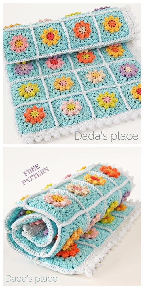 Primavera Flowers Granny Square Blanket Free Crochet Pattern