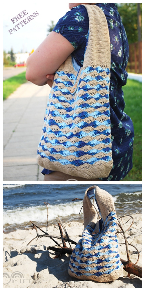 Crochet Sea Shell Market Bag Free Crochet Pattern + Video