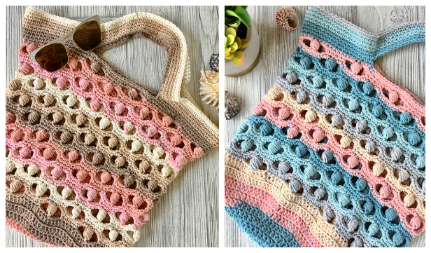 Sea Shell Market Bag Free Crochet Patterns + Video