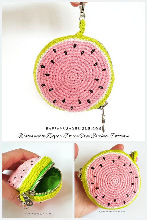 Watermelon Zipper Purse Free Crochet Patterns