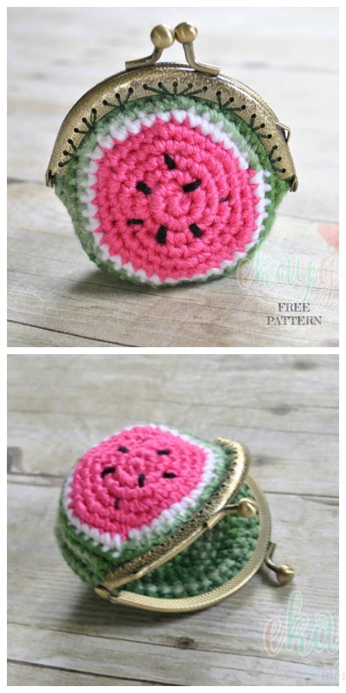 Crochet Watermelon Coin Purse Free Crochet Patterns