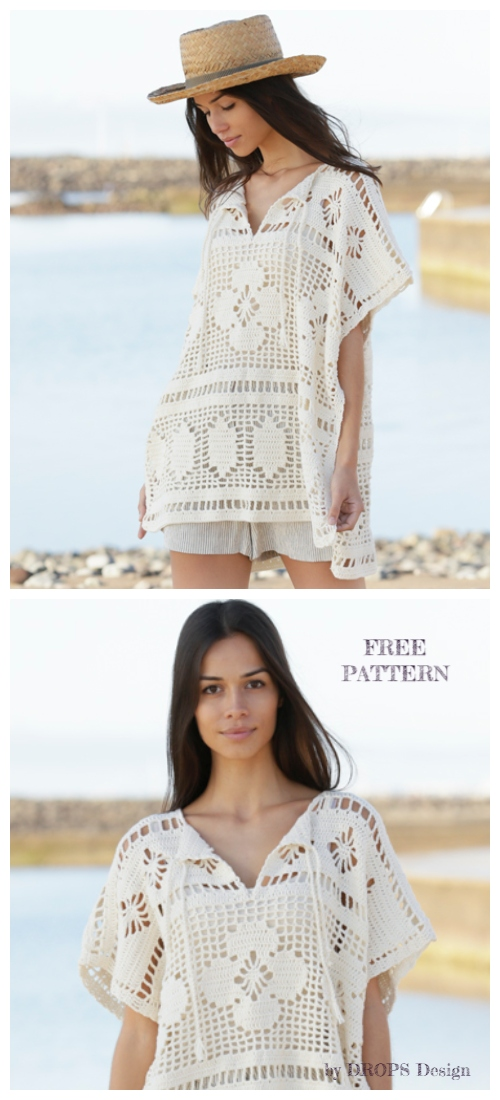 Women BOHO Lace Carefre Summer Top Free Crochet Patterns