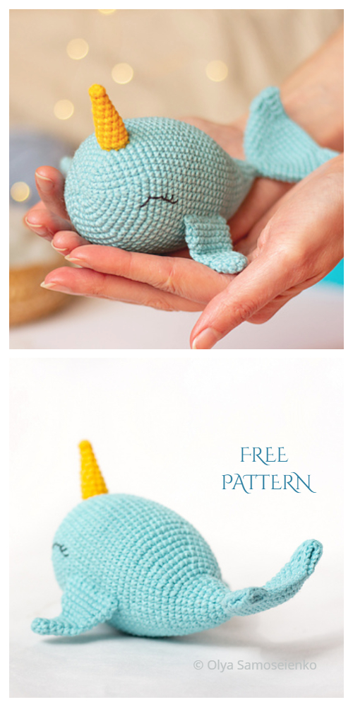 Little Walden the Narwhal amigurumi pattern | hookabee | 1000x500