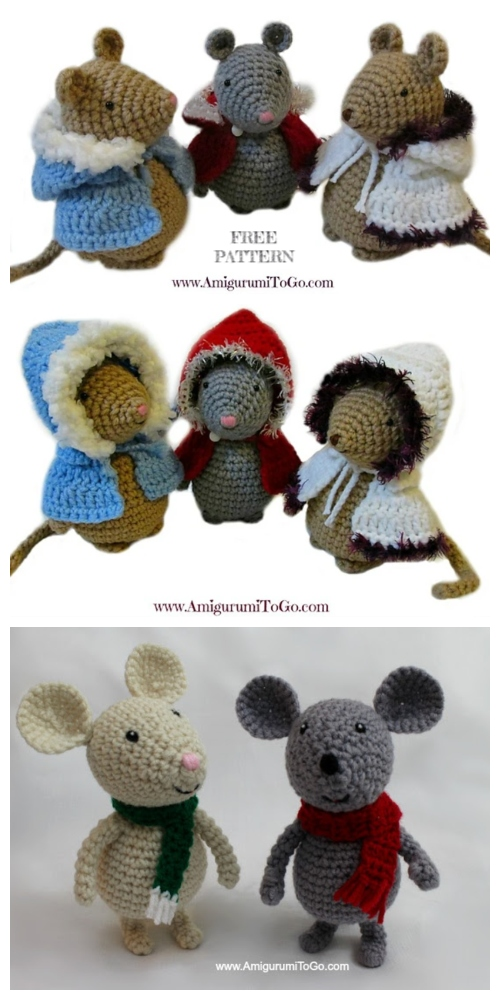 Crochet Winter Mouse Amigurumi Free Patterns