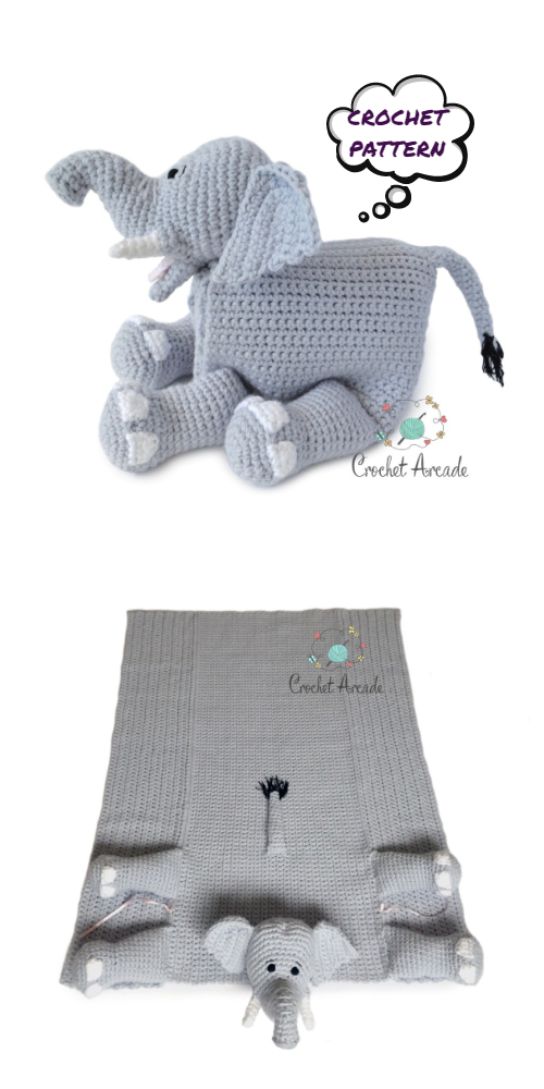 Cuddle and Play Elephant Baby Blanket Crochet Pattern | Crochet Arcade | 1000x500