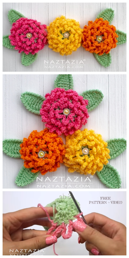 Crochet Chain Loop Flower Free Crochet Patterns + Video