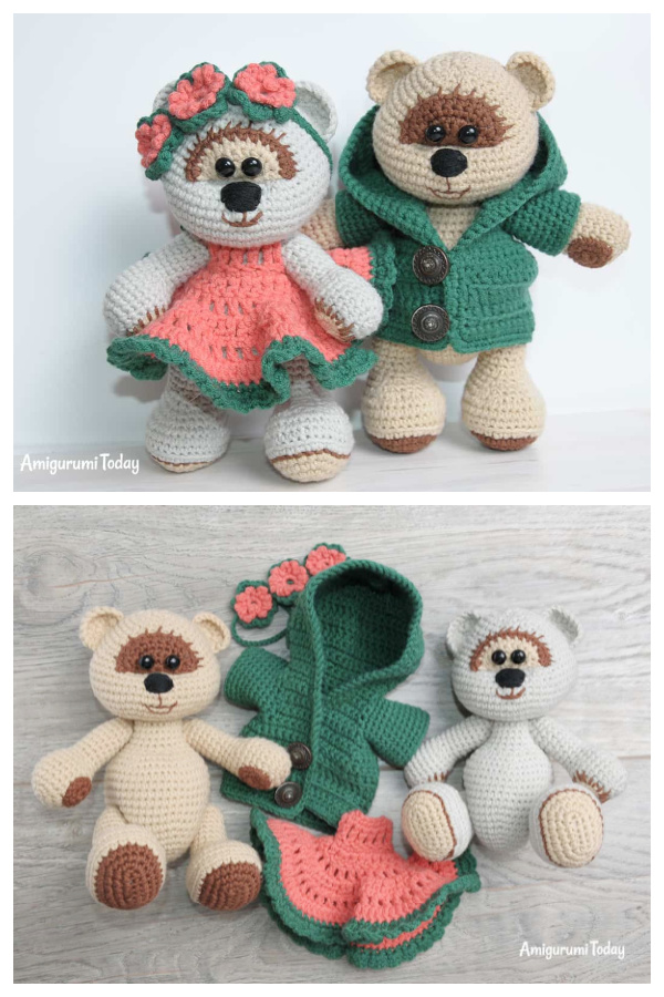 Crochet Honey teddy Bears in Love Amigurumi Free Patterns