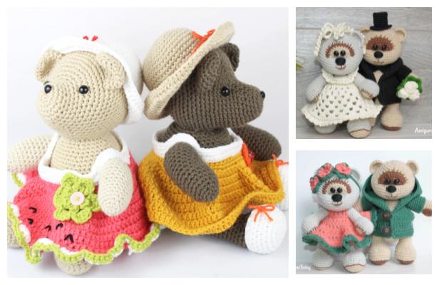 Crochet Wedding Bear Family Amigurumi Free Patterns