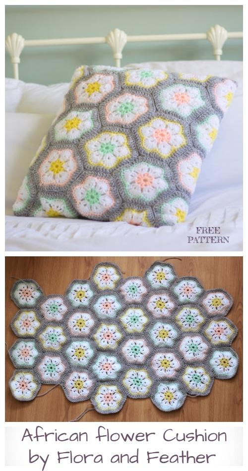 African Flower Cushion Free Crochet Patterns
