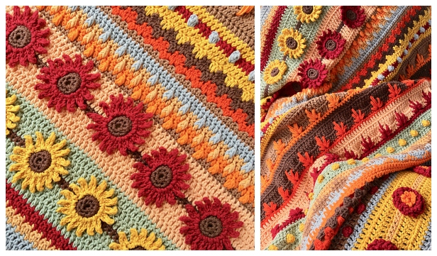 Autumn Rhapsody Blanket Free Crochet Pattern