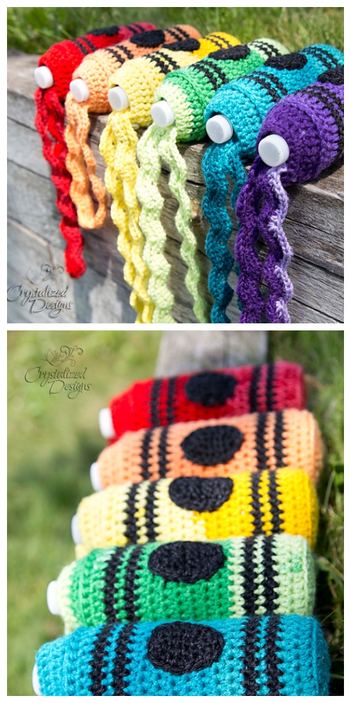 BTS Crayon Water Bottle Cozy Free Crochet Pattern