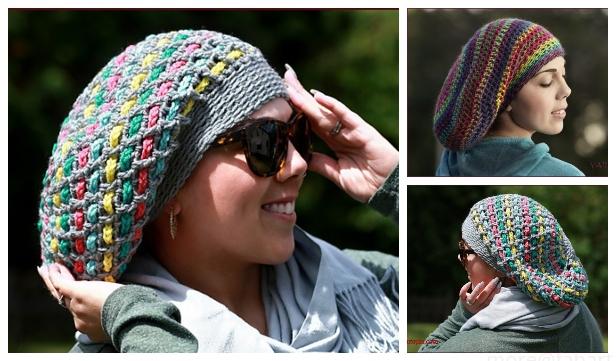 Chain Weaver Slouchy Hat Free Crochet Pattern + Video