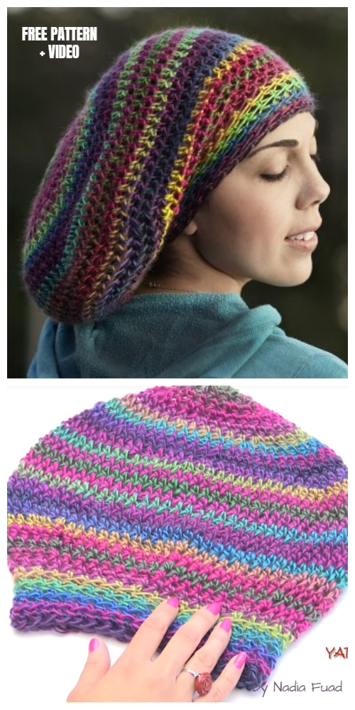 Fast Stretchy Slouchy Hat Free Crochet Pattern + Video